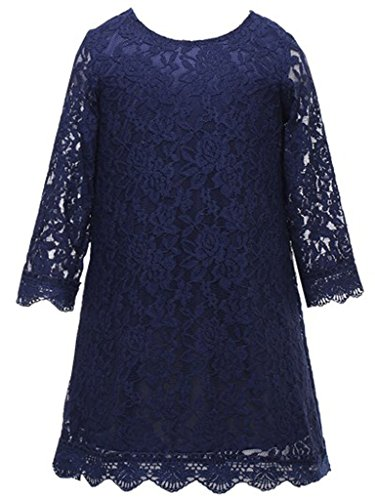 Bow Dream Flower Girl's Dress Navy Blue (Girls Navy Blue Dress)