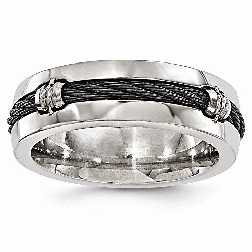 FB Jewels Solid Edward Mirell Titanium & Cable Polished 7mm Wedding Band Size ()