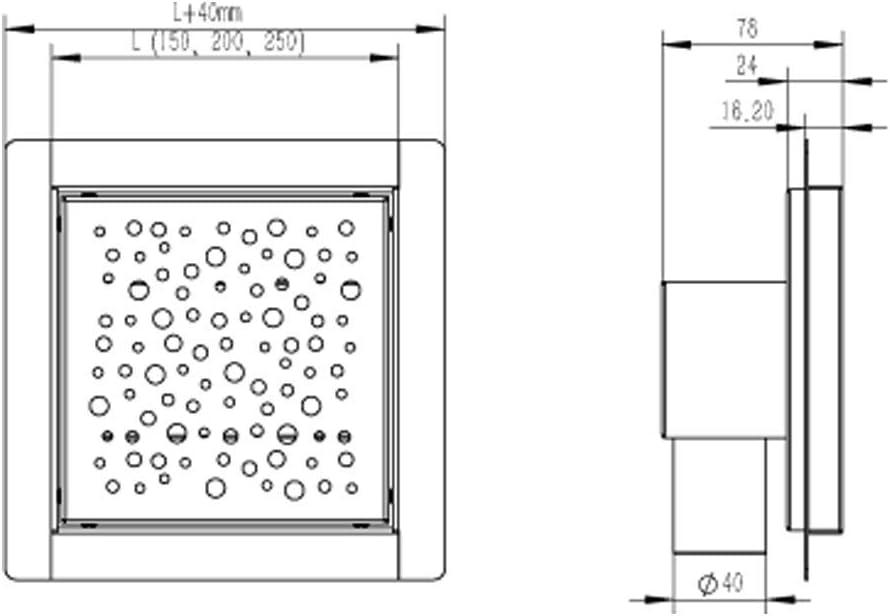 Noosa-Stainless Steel, 15x15 cm SIENOC Shower Drain Bathroom Floor Linear Drain Stainless Steel Siphon Waste Slot Drainage