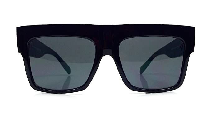 aea90dce40c Vintage Square Flat Top Black Thick Frame Black Dark Lenses ...