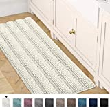 Non-Slip Bath Rug Runner Striped Plush Microfiber Bath Mat Long Size for Floor, Ultra Soft Thick Washable Bathroom Mat Runner Feature Dry Fast Water Absorbent (1 Piece,47 x 17 inches)