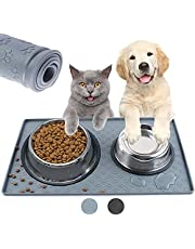 Dog Food Mat,Millketitech Dog Cat Pet Feeding Mat,Waterproof Silicone Feeding Mat Placemat with Raised Edge for Dog Cat to Stop Food Spills and Water Messes Out to Floor, for Small Animals