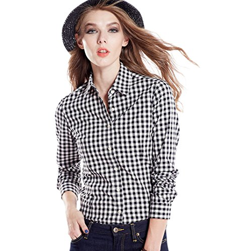 Tortor 1Bacha Women's Gingham Long Sleeve Button Down Plaid Shirt Black White 8-10 (Front Gingham Shirt)