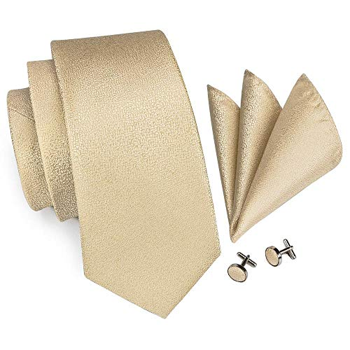 Hi-Tie Men Champagne Gold Solid Tie Handkerchief Necktie with Cufflinks and Pocket Square Tie Set - Necktie Gold Handkerchief Color