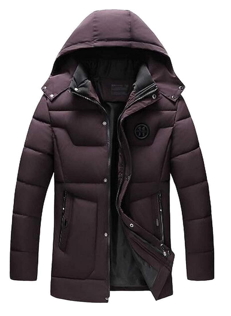Jofemuho Men Thermal Loose Hoodie Winter Longline Quilted Jacket Parka Coat Outerwear