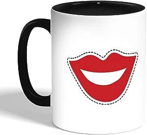 كوب سيراميك للقهوة، اسود،  بطبعة شفاه باسمة