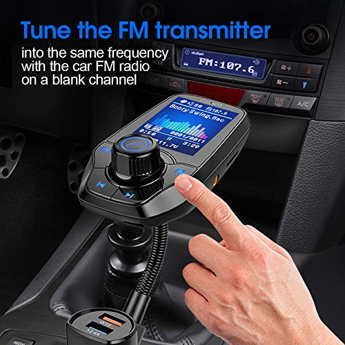 Guanda Bluetooth FM Transmitter for Car, Bluetooth Car Adapter, 4-in-1 Car MP3 Player with 1.8 Inch Color Display, AUX…