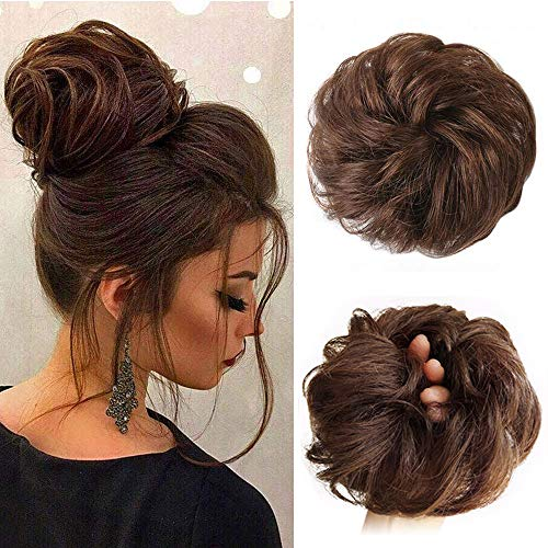 Stamped Glorious Messy Bun Hair Piece Human Hair Curly Hair Bun Scrunchie Hairpieces for Women Updo Bun Extension