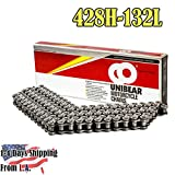 Unibear 428H 132 Links Motorcycle Chain with Connecting Link, Heavy Duty, Japan Technology,Wear Resistance, Natural Color