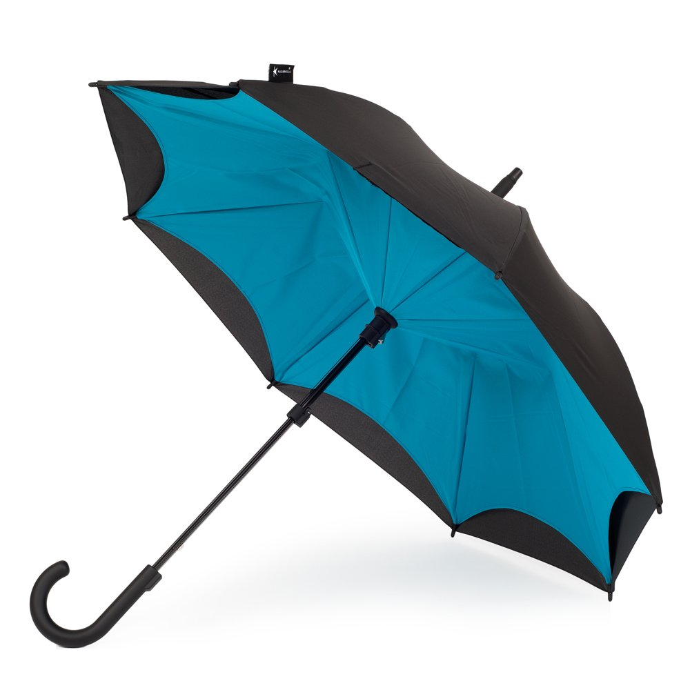 KAZbrella(カズブレラ)カーブ、ブラック&ターコイズ KZ-KS-205-CP 特許取得済 イギリスのブランド傘 逆さ傘 逆開き傘 逆折り傘 濡れない傘【国内正規品】 B07337NNYZ ブラック&ターコイズ ブラック&ターコイズ