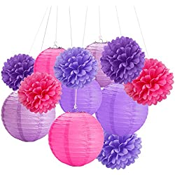 EVINIS Tissue Paper Pom Pom Flowers and Paper Lanterns Party Decoration, 12 Pieces (Violet, Purple and Red)