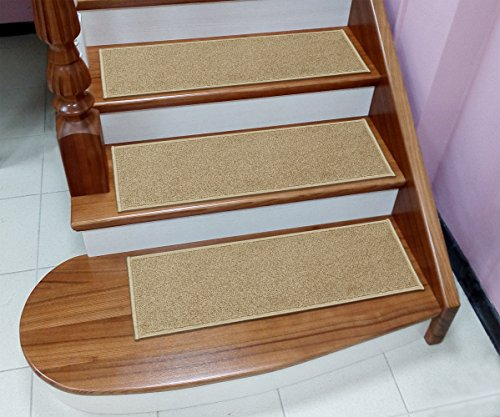 """Sweethome Stores Non-Slip Shag Carpet Stair Treads, (9""""X26"""")-7 Pack- Camel Solid"""
