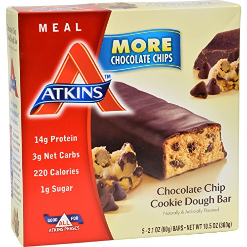 4 Pack of Atkins Advantage Bar Chocolate Chip Cookie Dough - High Protein - Low Carbs - 5 - Recipe Dough Cookie