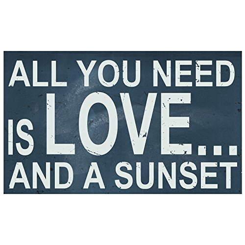 All You Need Is Love And A Sunset Wooden Sign