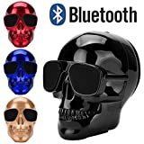 Plating Skull Wireless Bluetooth Speaker, Boofab Outdoor Portable Stereo Speaker with HD Audio and Enhanced Bass, Built-In Dual Driver Speakerphone, Bluetooth 4.2, Handsfree Calling, TF Card Slot (B)