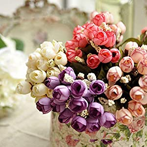BYyushop Sweet Artificial Rosebud Bouquet Home Wedding Cloth Rose 15 Flowers on 1 Piece - White 3
