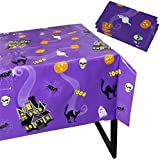 Halloween Party Tablecloth - 3-Pack Disposable Plastic Rectangular Table Covers - Halloween Party Decoration Supplies for Haunted House, Purple, 54 x 108 Inches