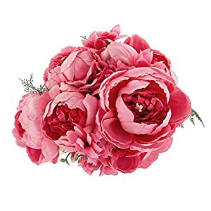 EZFLOWERY 1 Pack Artificial Peony Silk Flowers Arrangement Bouquet for Wedding Centerpiece Room Party Home Decoration, Elegant Vintage, Perfect for Spring, Summer and Occasions (1, Spring Pink) 71