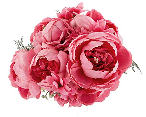 EZFLOWERY 1 Pack Artificial Peony Silk Flowers Arrangement Bouquet for Wedding Centerpiece Room Party Home Decoration, Elegant Vintage, Perfect for Spring, Summer and Occasions (1, Spring Pink)