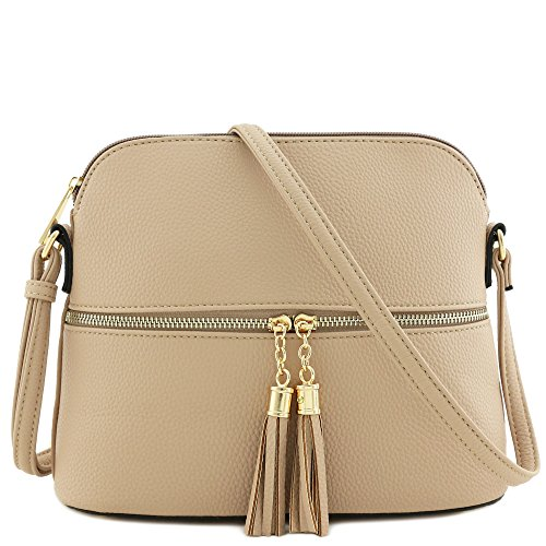 Tassel Zipper Pocket Dome Crossbody Bag (Beige)