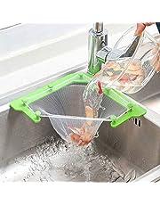 Mesh sink zeef voor keuken driehoekige mesh sink zeef met 100 stuks sink zeef bag, opknoping netto bag keuken zeef fijne mesh tas hoek sink vuilnisbak opslag rack