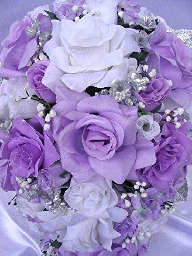 Amazon Wedding Bouquet Bridal Silk Flowers Lavender Silver