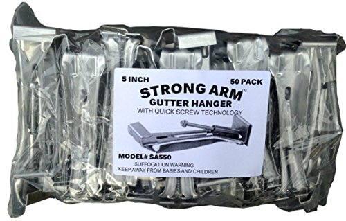 "Quick Screw 5"" 50 Pack Heavy Duty Hidden Rain Gutter Bracket Hook hangers With Clip"