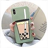 Cartoon 3D Milk Tea Funny Case for Samsung Galaxy A10 A20 A30 A40S A50 A60 A70 A80 M10 M20 M30 Silicon Drink Cup TPU Phone Cover,A2 Core,PearlCup BeanGreen -  disiren