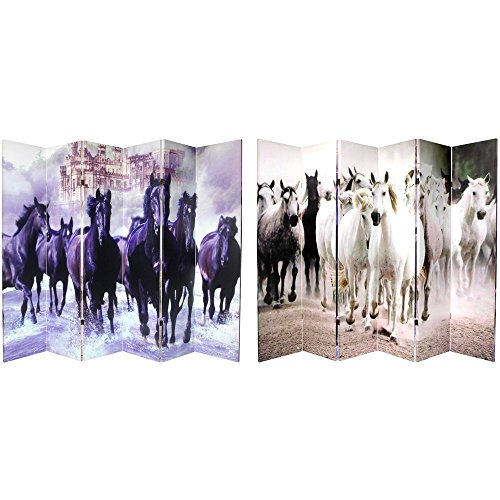 Oriental Furniture 6 ft. Tall Double Sided Horses Canvas Room Divider 6 -
