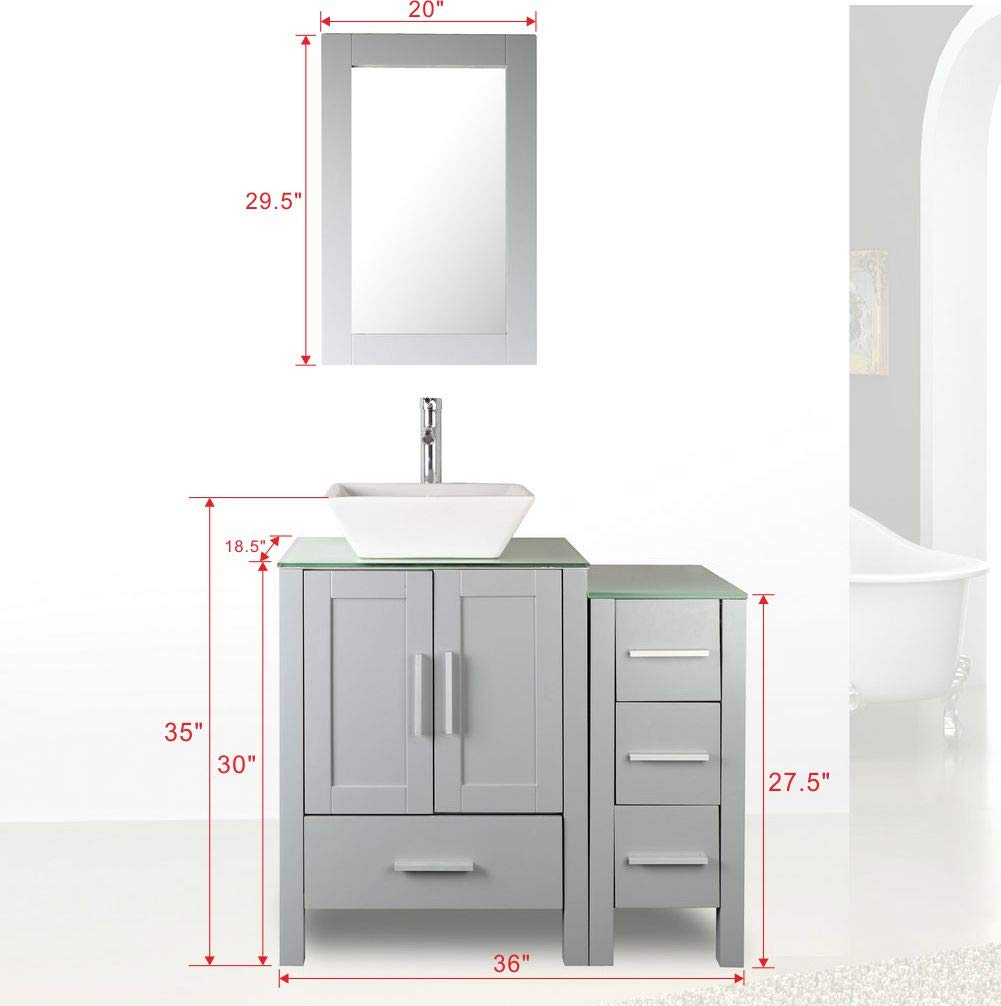 36 Grey Paint Bathroom Vanity And Sink Combo Glass Top W Drawer