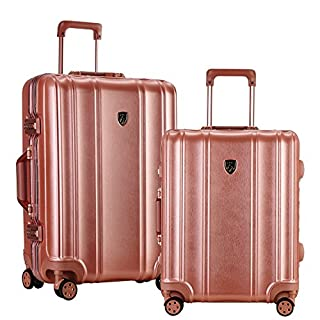 """TPRC 2 Piece """"Donna Collection"""" Surdy Aluminum Frame, WIDE-BODY, Color-Coordinated Accented Luggage with Dual TSA Locks Includes 28"""" Suitcase and 20"""" Carry-On Luggage, Rose Color Option"""