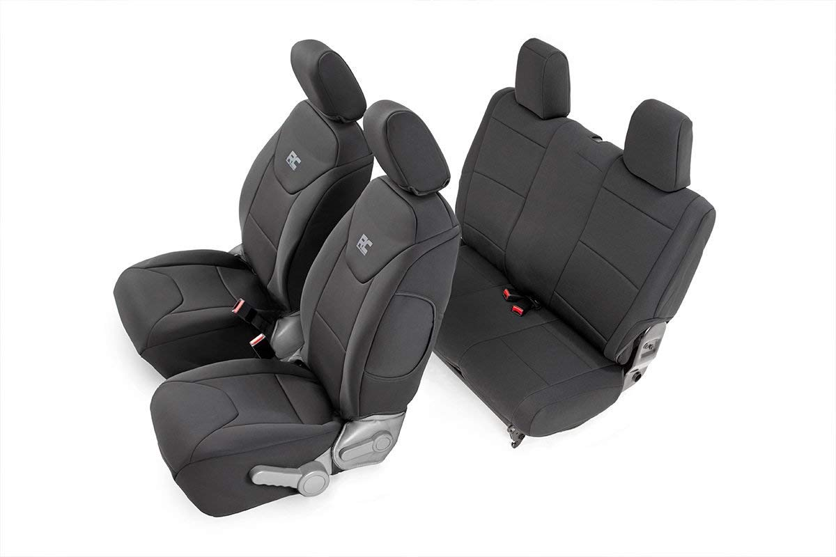 Rough Country 91005 Black Neoprene Seat Cover (Front/Rear) for 07-10 Jeep Wrangler JK 2-Door