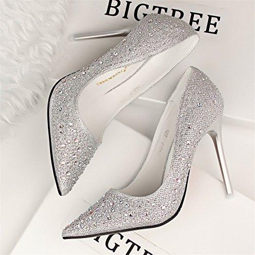 Makegsi Femmes Haut-talon Mince Pointu Bouche Cristal Perceuse Lady Chaussures Argent