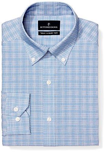 Buttoned Down Men's Tailored Fit Button-Collar Pattern Non-Iron Dress Shirt, Blue Glen Plaid, 17.5