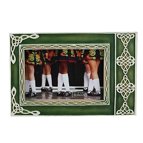 "(Roman 6"" Green Distressed Finished Irish Photo Frame with White Celtic Knot Design)"