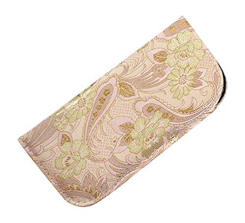 Soft Slip In Eyeglass Case For Women - Floral & Paisley Brocade in Rose - Eyeglasses Rose