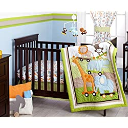 Little Bedding Crib Bedding Set, Critter Pals Green