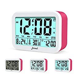 Digital Alarm Clock, Jiemei Talking Alarm Clocks for Kids and Adults, Battery Operated, 4.5'' Display, Smart Backlight, 3 Alarms, 7 Rings, Good Gift Choice (Pink)