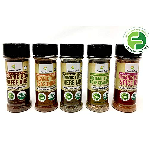 Organic Paleo Seasoning, Low FODMAP Diet Healthy Spices (Starter 5 Pack) | No Onion No Garlic, Gluten-Free, No Carb, Keto, Paleo, Whole30, Kosher, All Natural, Non GMO, Non Irradiated - Casa de Sante