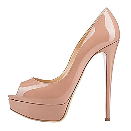 714fc7c6b12c ACEDICHY Women s Extreme High Fashion Peep Toe Pumps Handmade for Wedding  Party Dress Stiletto Slip On