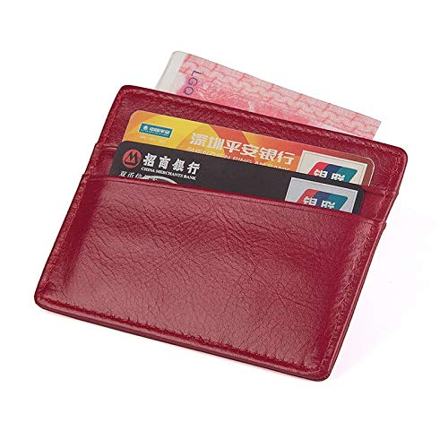 Color : Red Ljie Multifunction Genuine Leather Buttons Card Purse Business Card Holder for Unisex