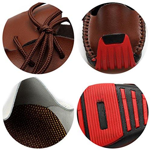 Mocassin Slip Sapato Chaussures Cuir Hommes Noir Masculino Homme Sur Mocassins Casual Brown En YYOZfwq84