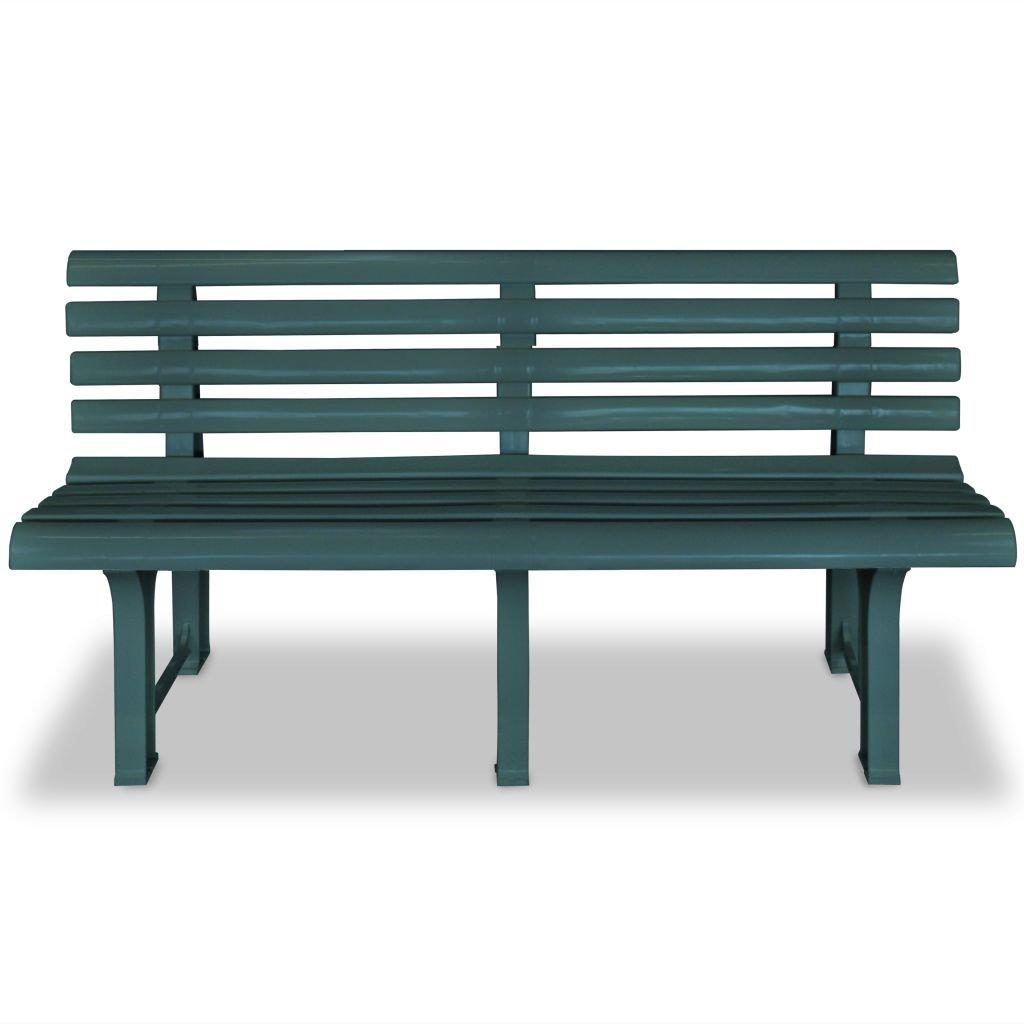 Festnight Plastic Garden Bench Seat 145,5x49x74 cm Green
