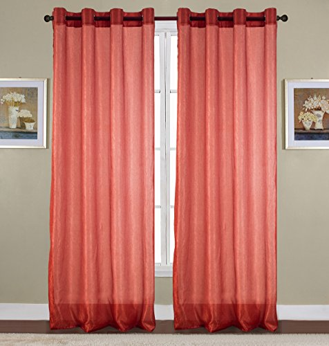 RT Designers Collection Maya Crushed 52 x 90 in. Grommet Curtain Panel, Terracotta