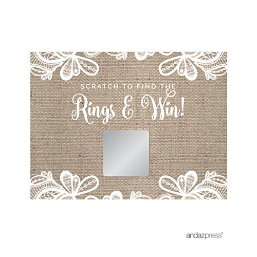 (Andaz Press Burlap Lace Wedding Collection, Bridal Shower Game Scratch Cards, 30-Pack)