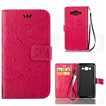 CUSKING Galaxy Core Prime Case, Wallet Leather Flip Case Silicone Case Embossed Butterfly Pattern Design Lifeproof Cover Case with Magetic Closure and Card Holder for Samsung Galaxy Core Prime - Hot Pink