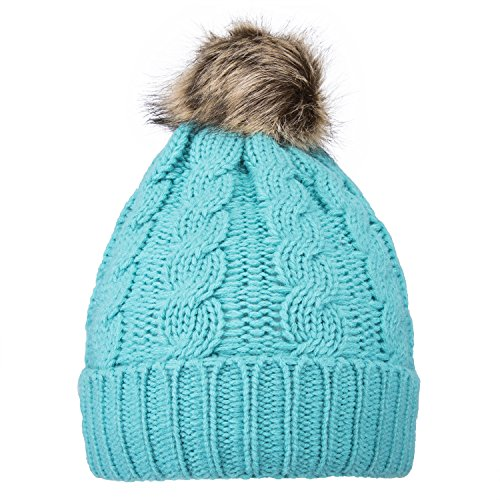 GRAMONI Men/Women's Knit Beanie Cap Winter Warm Hand Knit Faux Fur Pompoms Beanie Hat (Light (Fur Newsboy)