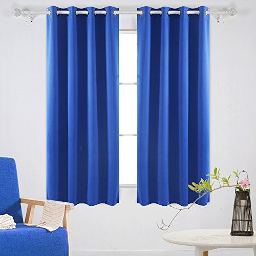 Deconovo Fashionable Thermal Insulated Curtains Grommet Curtains Blackout Curtains Window Curtains for Living Room 52W x 63L Inch Royal Blue Set of 2
