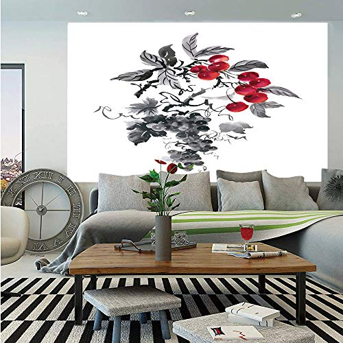 SoSung Rowan Huge Photo Wall Mural,Rural Nature Inspired Artistic Foliage Composition Wild Berry Plant with Leaves,Self-Adhesive Large Wallpaper for Home Decor 108x152 inches,Grey Ruby Black