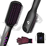 Ionic Hair Straightener Brush, KeShi Anti-Scald Straightening Comb with 30s Fast Ceramic Heating, 12 Heat Levels, Auto Off, Beard Straightener, Hair Straightening Brush for Thin, Thick, Curly Hair